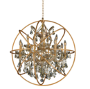 Online Designer Living Room Foucault's Orb Chandelier 13 Lts Chrome Clear Crystal Flemish Brass Cage Rustic