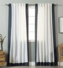 Online Designer Living Room Aurora Home Colorblock Border Linen Blend Curtain Panel (Pair)