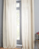 Online Designer Bedroom Semi-Sheer Belgian Flax Linen Dash Weave Curtain