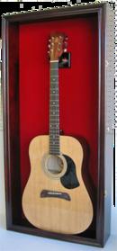 Online Designer Bedroom Large Display Acoustic Guitar Case Cabinet, Most Guitars Fit, Lockable, Mahogany Finish