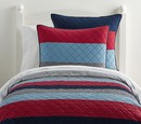Online Designer Bedroom Block Stripe Quilt Navy Red