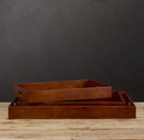Online Designer Bedroom ARTISAN LEATHER TRAY RECTANGLE CHESTNUT SMALL