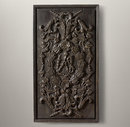 Online Designer Bedroom HAND-CARVED ROCOCO WOOD PANEL BLACK