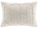 Online Designer Bedroom Frayed Geo Linen Lumbar Pillow