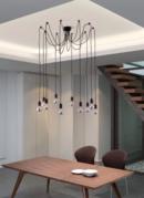 Online Designer Living Room Fog 10-light Black Modern Ceiling Lamp