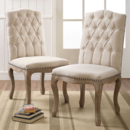 Online Designer Combined Living/Dining Shiraz Linen Tufted Wood Back Dining Chairs in Natural