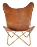 Online Designer Living Room Safari Chestnut Leather Butterfly Chair