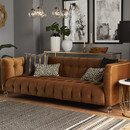 Online Designer Living Room Saffron Cognac Velvet Sofa