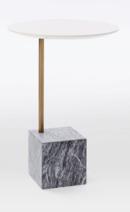 Online Designer Living Room Cube C-Side Table - White/Gray Marble