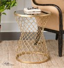 Online Designer Combined Living/Dining Gold Leaf End Table