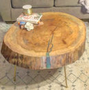 Online Designer Living Room Reclaimed Round Live Edge Sycamore Coffee Table