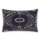 Online Designer Living Room Velvet Ikat Applique Lumbar Pillow Cover, Navy/Natural