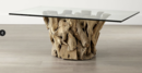 Online Designer Living Room Driftwood Coffee Table with Rectangular Glass Top