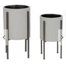 Online Designer Living Room Tania Mid Century 2 Piece Iron Pot Planter Set