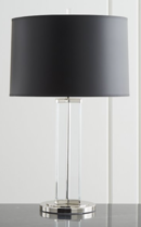 Online Designer Living Room Gleam Crystal/Nickel Black Shade Table Lamp