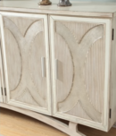 Online Designer Bedroom Somette Millicent White and Silver Rub Four Door Media Credenza