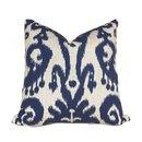 Online Designer Living Room Lacefield Designs Marrakesh Ikat Pattern Blue Beige Pillow Cover