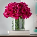 Online Designer Bedroom Magenta Peony Bouquet in Acrylic Water Glass Vase