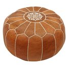 Online Designer Living Room Cherise Round Pouf Leather Ottoman