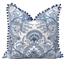 Online Designer Combined Living/Dining BLUE AND WHTIE LINEN PILLOW WITH POM POM