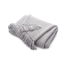 Online Designer Combined Living/Dining Styles Dove Fringe Throw Blanket