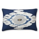 Online Designer Bedroom Istanbul Ikat Velvet Applique Lumbar Pillow Cover, Blue
