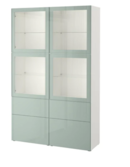 Online Designer Business/Office Besta Storage combination  in Selsviken high gloss white with clear glass doors.