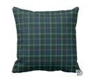Online Designer Living Room Stewart Hunting Tartan Green and Blue Plaid Throw Pillow (cotton 20 x 20)