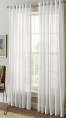 Online Designer Kitchen Shimmer Sheer 95-Inch Rod Pocket Window Curtain Panel in White