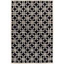 Online Designer Combined Living/Dining Geometric Black White Rug