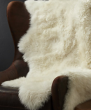 Online Designer Combined Living/Dining Ivory Sheepskin Throw/Rug