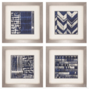 Online Designer Living Room Indigo Batik Print, Set of 4