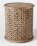 Online Designer Living Room Carved Wood Large Side Table, Natural Mango