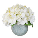 Online Designer Combined Living/Dining Faux White Hydrangea