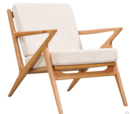 Online Designer Living Room Limn Midcentury Modern Chair, Ash Wood Z Frame, Off-White