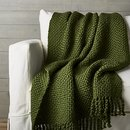 Online Designer Bedroom Cozy Weave Green Throw