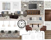 Traditional and comfortable basement bar and living room  Laura A. Moodboard 1 thumb