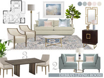 Contemporary Blue Accented Living/Dining  Amisha D. Moodboard 2 thumb