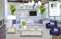 White and Blue Contemporary Living Room Michelle B.  Moodboard 1 thumb