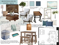 Stylish Beach Living Room & Bedroom  Sarah M. Moodboard 1 thumb