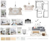Contemporary neutral living dining room Sarah B. Moodboard 1 thumb