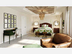 Transitional and Tropical Style Master Bedroom Rendering thumb