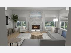 Modern Family Room & Foyer Transformation Rendering thumb