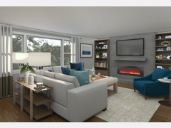 Contemporary White Balanced Living/Dining Area Rendering thumb