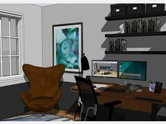 Masculine modern home office Rendering thumb