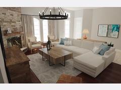 Transitional Bright Living Room & Dining Room  Rendering thumb
