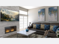 Transitional Living Room with Blue Accents Rendering thumb
