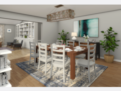 Transitional Living and Dining Room Design Rendering thumb