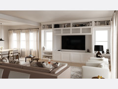 White and Neutral Living Room Design Rendering thumb