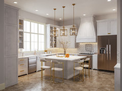 Elegant and Light Kitchen Design Rendering thumb